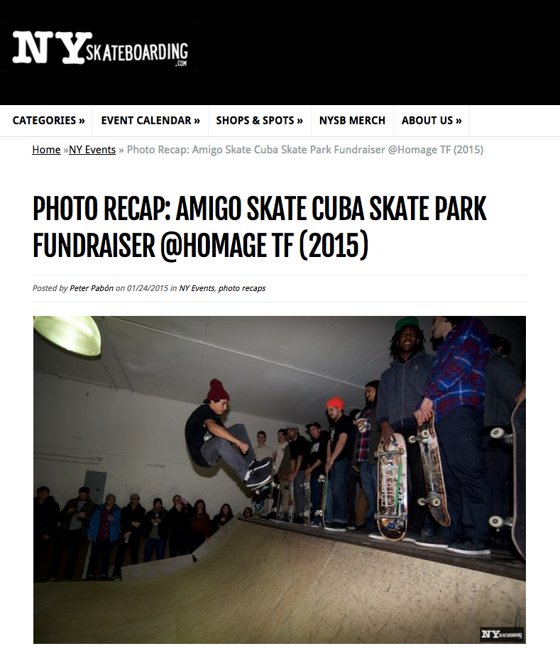 check out NYskateboarding's photo recap of our Amigo Skate Cuba Fundraiser in Brooklyn