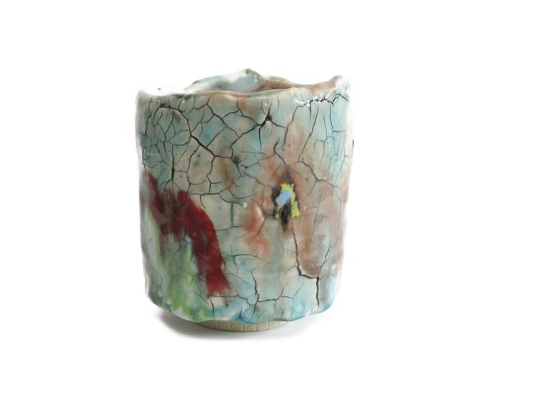 Teabowl   2014 stoneware, porcelain, glaze   5 x 4.5 x 4.5'' SOLD