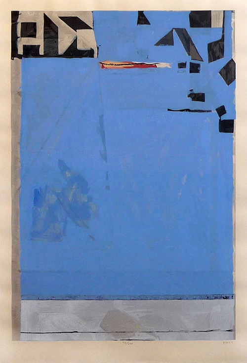 """""""Blue with Red"""", Framed   Price Upon Request (inquire through email)  Richard Diebenkorn woodcut on echizen kozo washi paper 37 x 25"""" 1987 signed by artist  *edition of 200"""