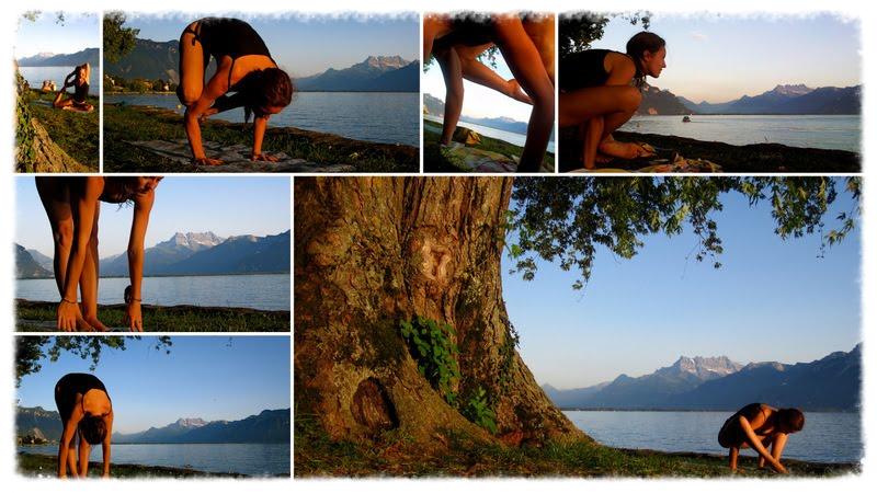 Yoga au bord du Lac Léman, prés de Genève, Suisse.