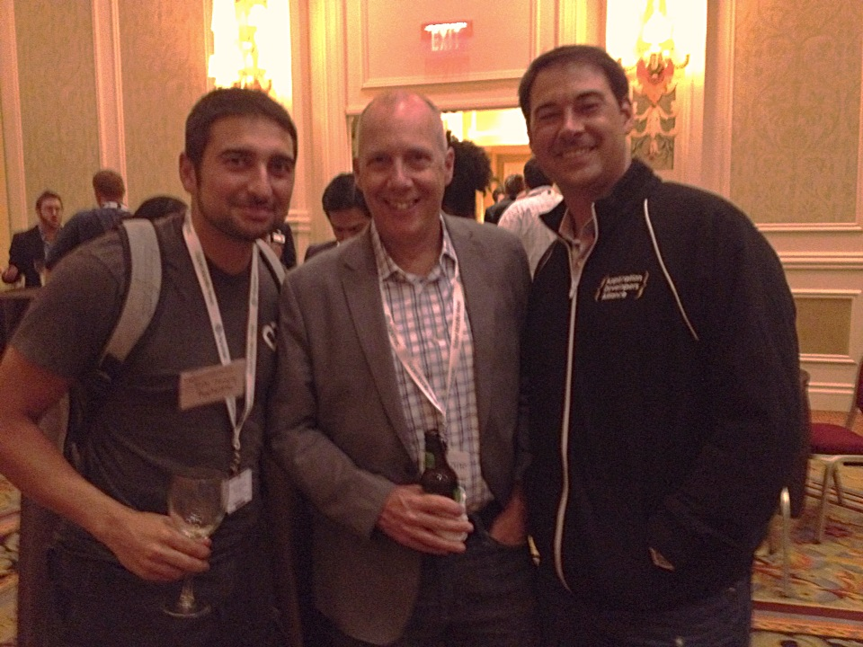(Left to right): Robi Ganguly (Apptentive), Pete Erickson (MoDev), Jake Ward (Apps Alliance) mingle during Innovation Networking Events