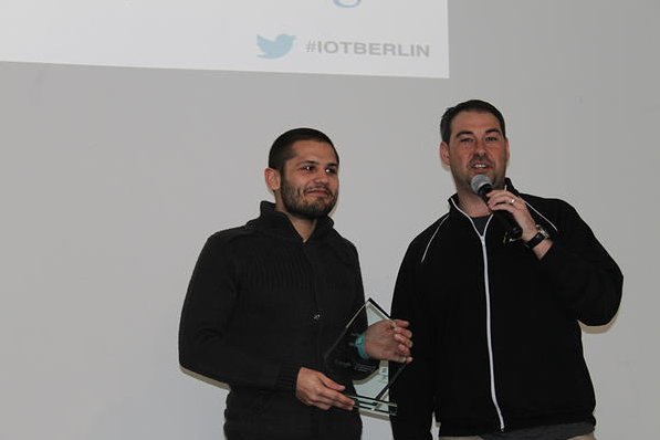 Jake Ward with IoT{Accelerate}Berlin winner, Nicholas Caporusso of dbGLOVE