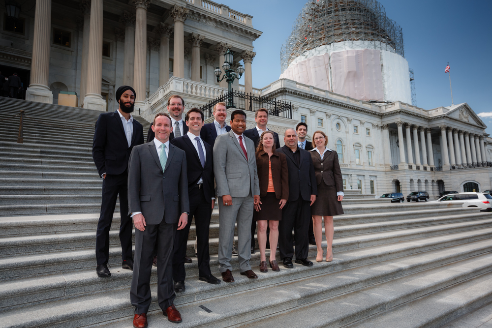 Innovators and business owners on the steps of the U.S. Capitol.