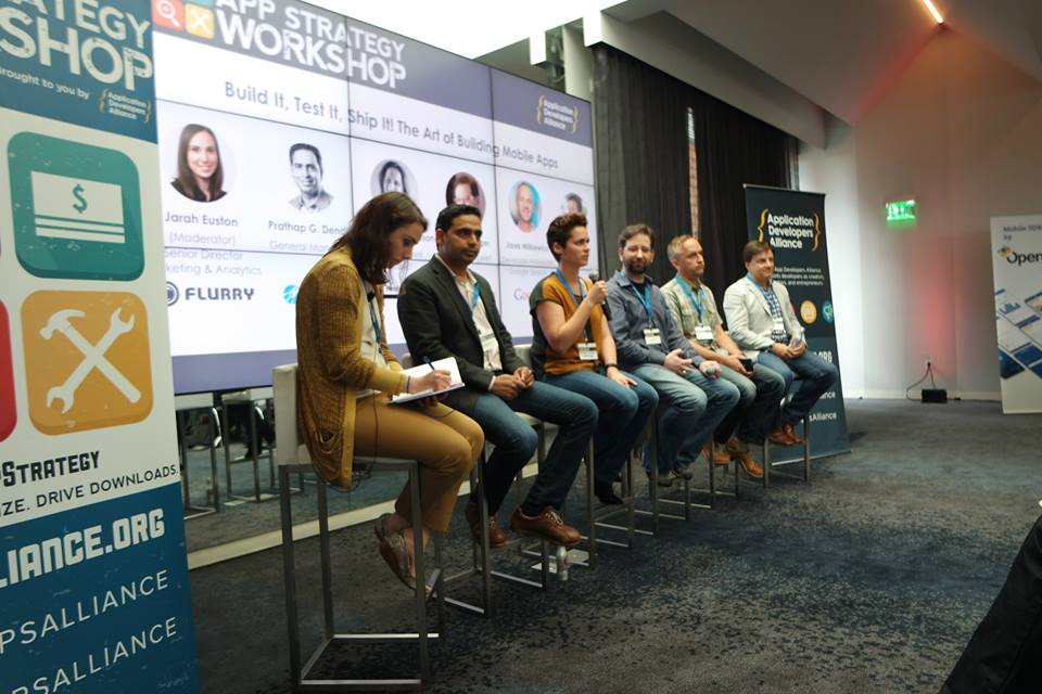 From L to R: Jarah Euston (Flurry), Prathap G. Dendi (Ship.io), Amanda Richardson (HotelTonight), Paul Cutsinger (Amazon Appstore), Jarek Wilkiewicz (Google), Mike Brough (M2Catalyst)