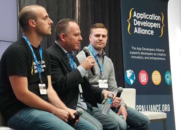 From L to R: Mike Schwartz (App Developers Alliance), Barry Dorf (DeNA), Sean Webster (AppLovin)