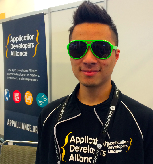 Kevin Zhu, Apps Alliance Team Member, looking stylish at our AppsWorld booth.