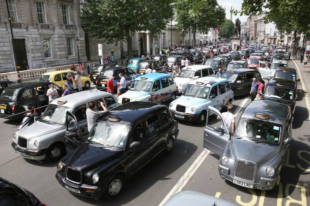 Black cabs protest in London