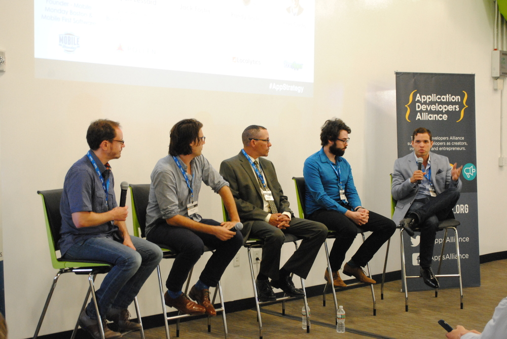 From L to R: Matt Gross (Mobile Monday Boston/ Mobile First Software), Ryan Lessard (Pollen), Jack Foster (MIR Publishing), Randy Dailey (Localytics), Sean Casto (PreApps)