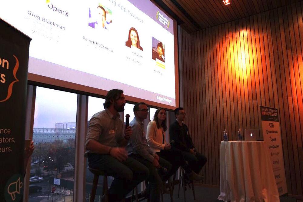 Greg Blackman (OpenX), Patrick McCormack (Millennial Media), Kejia Tang (AppFriends.me),Emily Kaufman (AdColony)