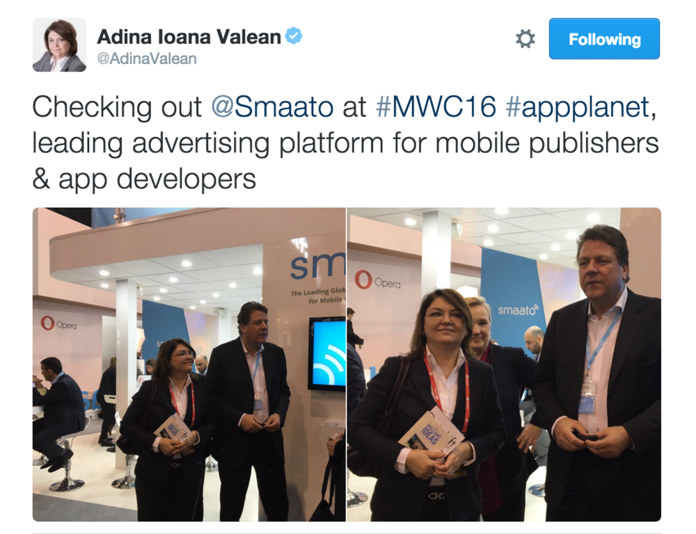 Adina-Ioana Valean tweets about her visit with Germany-based company, Smaato.
