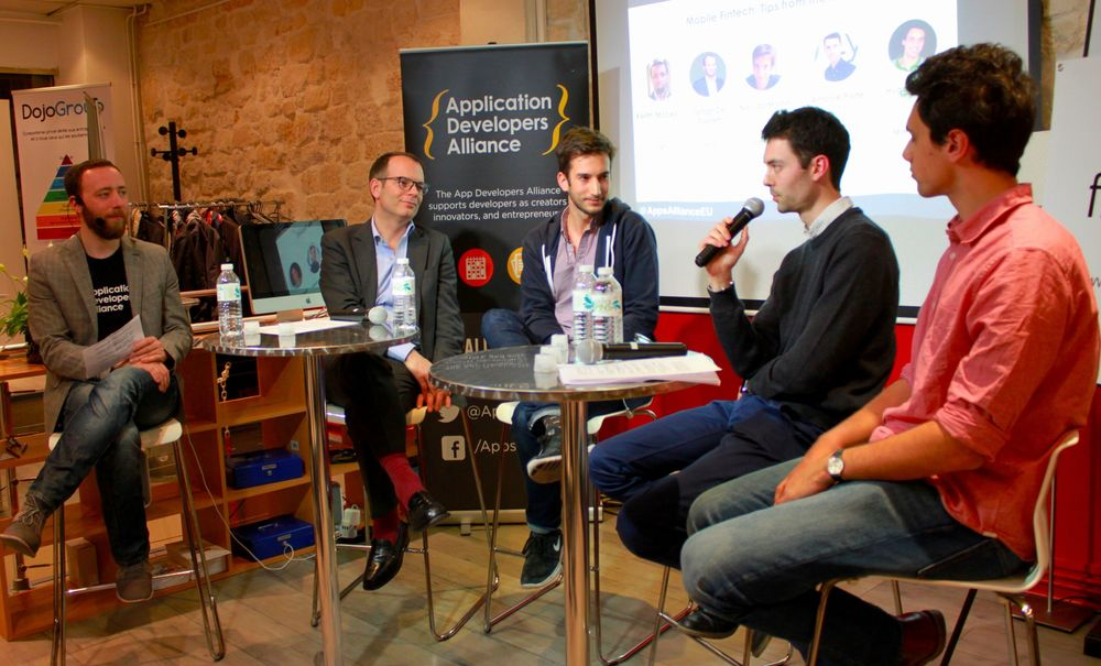 From left to right: Corentin Cremet, Senior Evangelis, Application Developers Alliance, Jehan De Castett, CEO of Fluo, Nicolas Martin, Chief Product Officer of Bankin, Antoine Porte, Co-Founder & CTO of Lydia App & Hugo Bailey, Product Manager of Mangopay