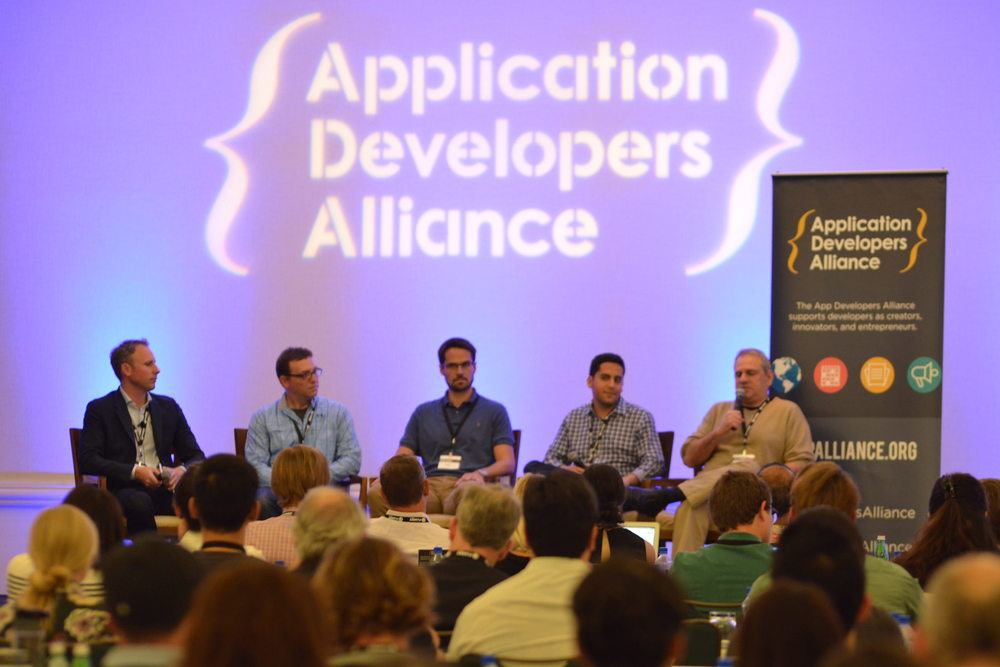 Martin Price, Chocolate by Vdopia (Moderator); Peter Heinrich, Amazon Appstore; Zachary Kuney, Google; Rafael Vivas, AppLovin; Adam Rockmore, Fandango