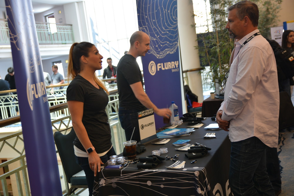 Our sponsor, Flurry, talking to attendees