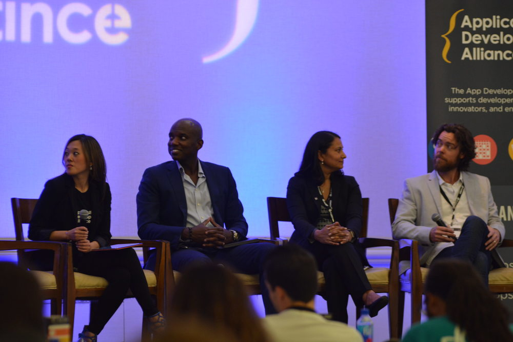 This panel features Laura Bolos (VP of Membership and Marketing, App Developers Alliance), Josh Hartwell (CEO, Mobile Deluxe), Ayinde Alakoye (CEO, Hitch Radio), and Neha Sampat (CEO, Built.io)