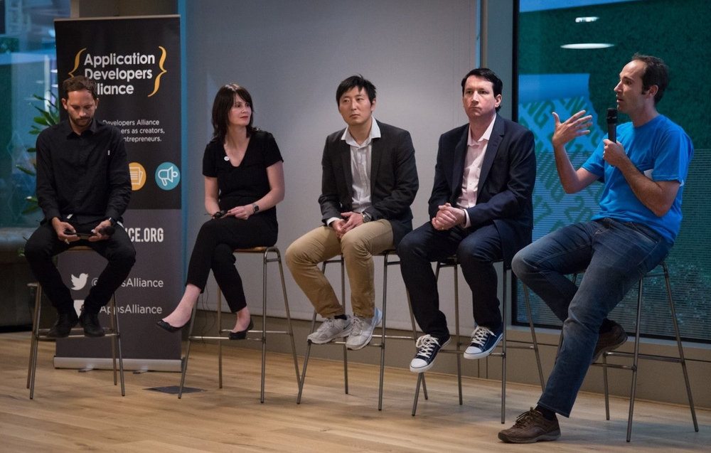 From left to right: Moderator, Bradley Want, ‪Head of Business Development at The ASO Co, Lea Hartkopf, ‪Head of Marketing at busuu,  Jack Tang, ‪CEO and Founder of Funky Panda, Matt Casey, ‪Monetization Manager of Jagex and Xavier Louis, ‪Co-founder & Chief Product Officer at Peak