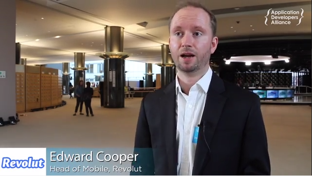 Edward Cooper, Head of Mobile a Revolut talks inside the European Parliament