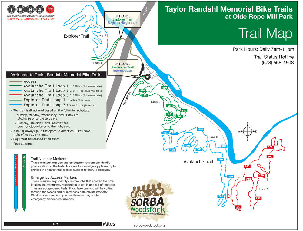 Trail Map of Old Rope Mill Park