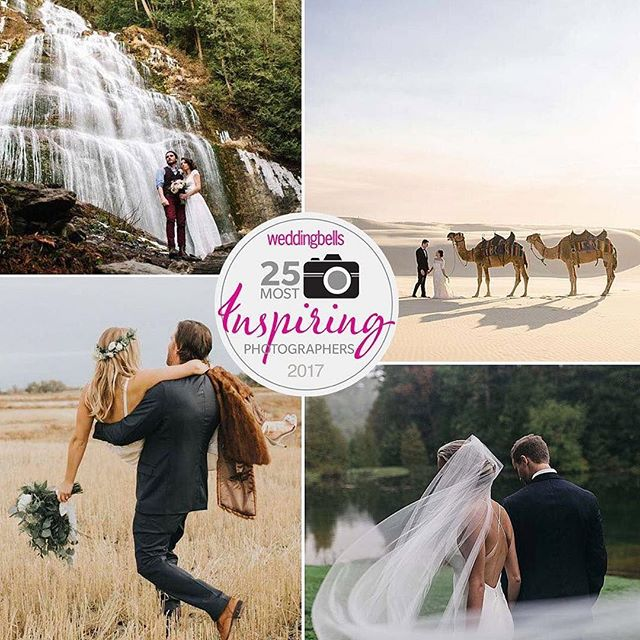 """Wow, really can't believe it. Thank you so much @weddingbellsmag for including me, such an honour🙏🏼 """"25 Most Inspiring Photographers of 2017"""""""