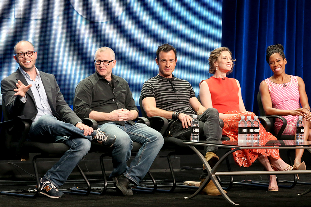 Co-creators Damon Lindelof and Tom Perrotta with cast members Justin Theroux, Carrie Coon and Regina King at the 2015 Television Critics Association press tour panel on Thursday, July 30, discussing the second season of The Leftovers.