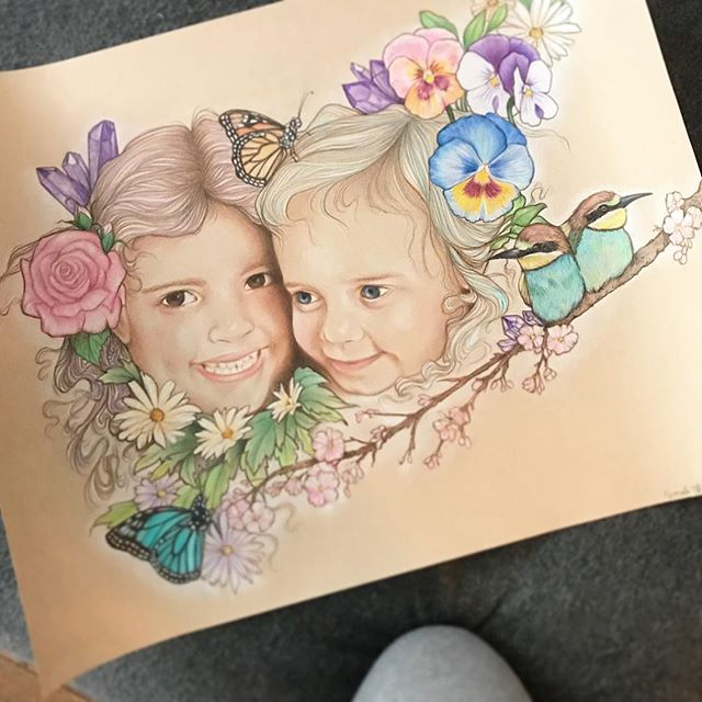 When one of your favourite artists creates a work of art featuring your babies #priceless @sarahjanetreats This #pencildrawing piece means so much to me!!! She was well worth the wait 💗💜💗😘 Hope everyone out there is well 💗sending out lots of 💜💗💜#strangetimes