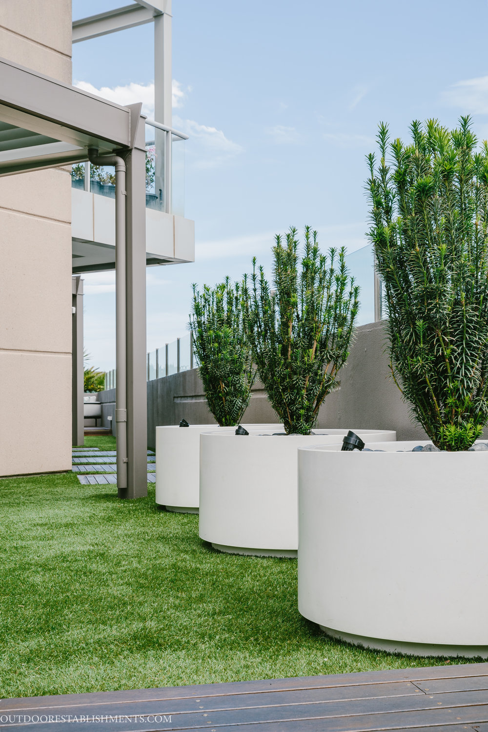 GRC planters on rooftop garden Outdoor Establishments