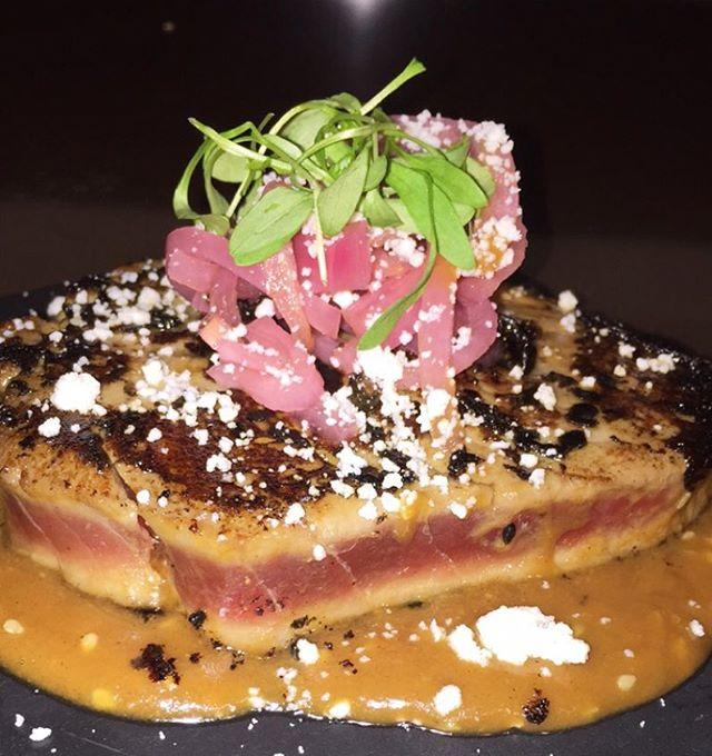 Seared Big Eye Tuna Steak • Soy Peanut Sauce • Pickled Onion • Queso Fresco • Micro Cilantro  #bigeye #tuna #steak #healthy #fresh #neverfrozen #fish #food #dinner #onion #pickled #microcilantro #quesofresco #soy #peanut #sauce #instagood #instachef #chef #chefip #miami #gourmet