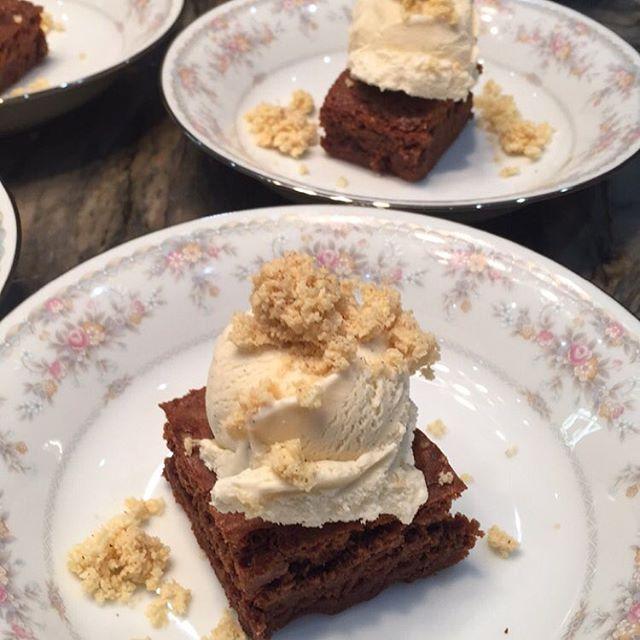Milo Fudge Brownie • Vanilla Bean Ice Cream • Marshmallow Clusters  #dessert #milo #fudge #chocolate #warm #cake #brownie #vanillabean #vanilla #icecream #cream #calories #marshmallows #clusters #chefip #private #chef #miami #fortlauderdale #southflorida