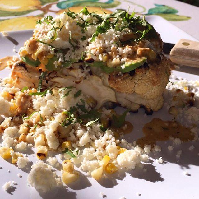 Organic Cauliflower Steak • Cotija Cheese • Quail Egg • Roasted Tomatillo Salsa  #new #dish #alerft #cauliflower #healthy #steak #grill #char #cotija #cheese #mexican #american #fusion #fusionfood #food #miami #chef #privatechef #local #chefip