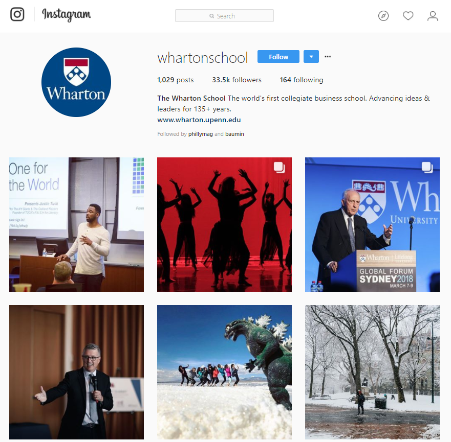 Supporting the Wharton Narrative through visual flair is key - Instagram is an invalauble tool, acting as a portal that represents our brand and engages new students and alumni alike