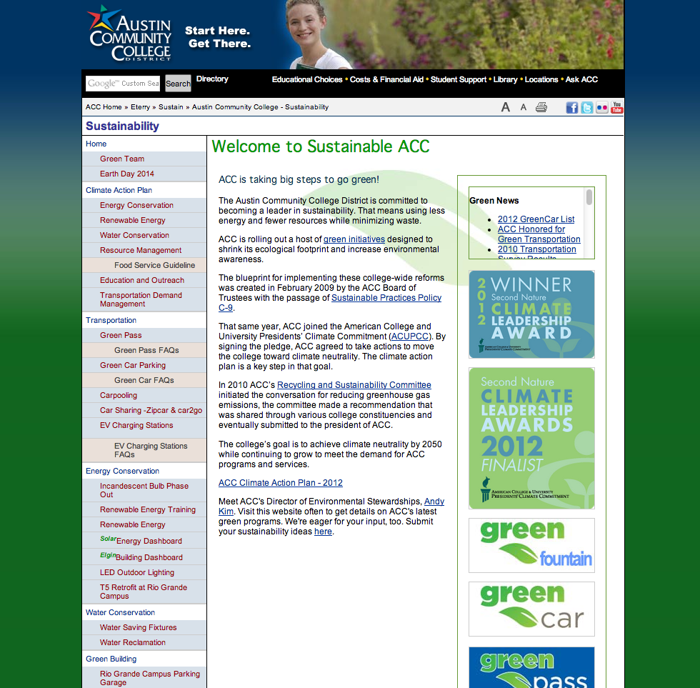 ACC's Sustainability website prior to redesign