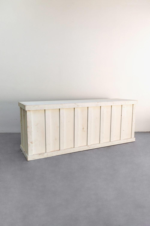 $375 Vintage White Wooden Bar 9ft