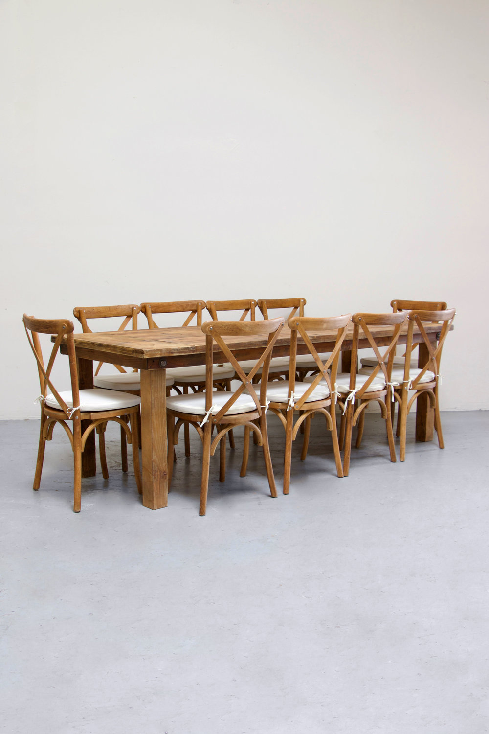 1 Honey Brown Farm Table w/ 10 Cross-Back Chairs $160