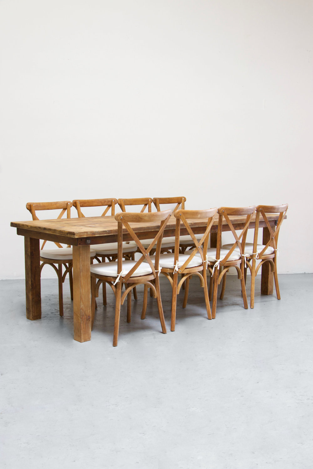 1 Honey Brown Farm Table w/ 8 Cross-Back Chairs $145