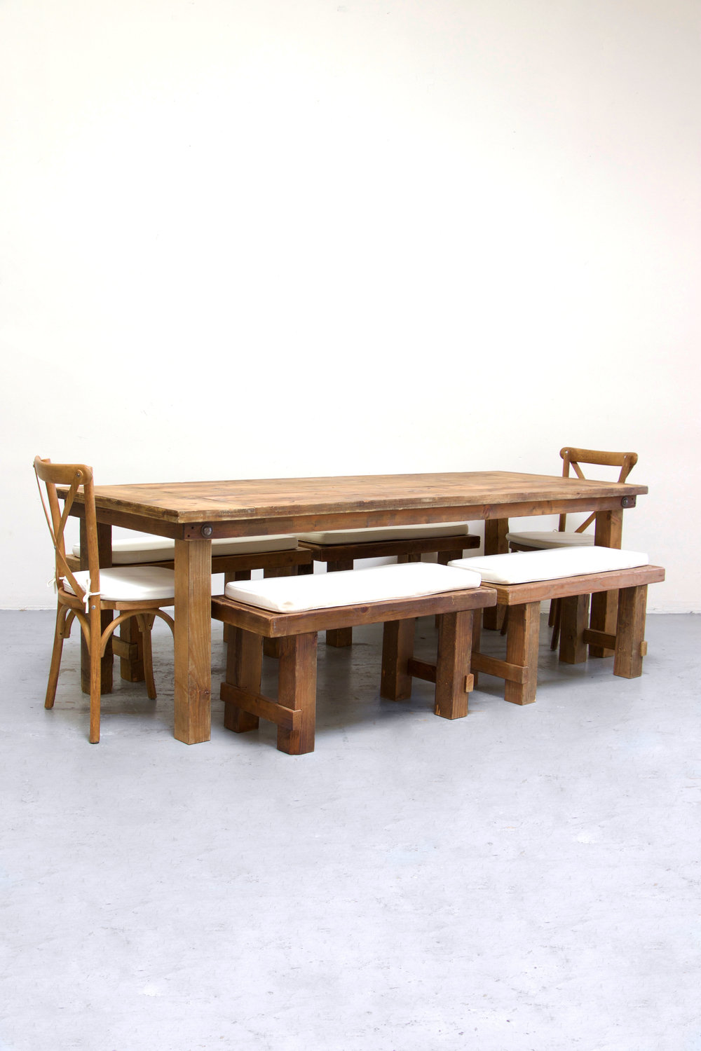 1 Honey Brown Farm Table w/ 4 Short Benches & 2 Cross-Back Chairs $160