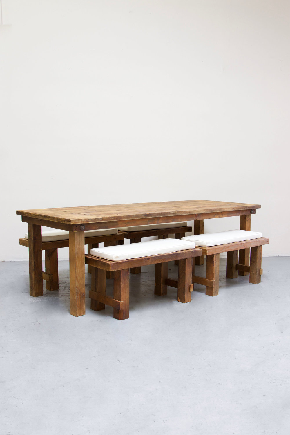 $145 1 Honey Brown Farm Table w/ 4 Short Benches
