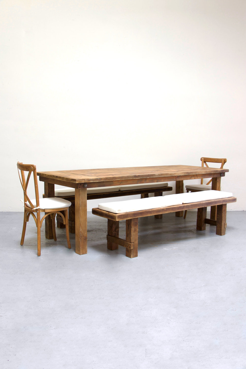 $160 1 Honey Brown Farm Table w/ 2 Long Benches & 2 Cross-Back Chairs