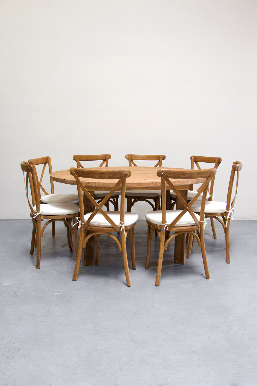 $145 Honey Brown Round Farm Table w/ 8 Cross-Back Chairs