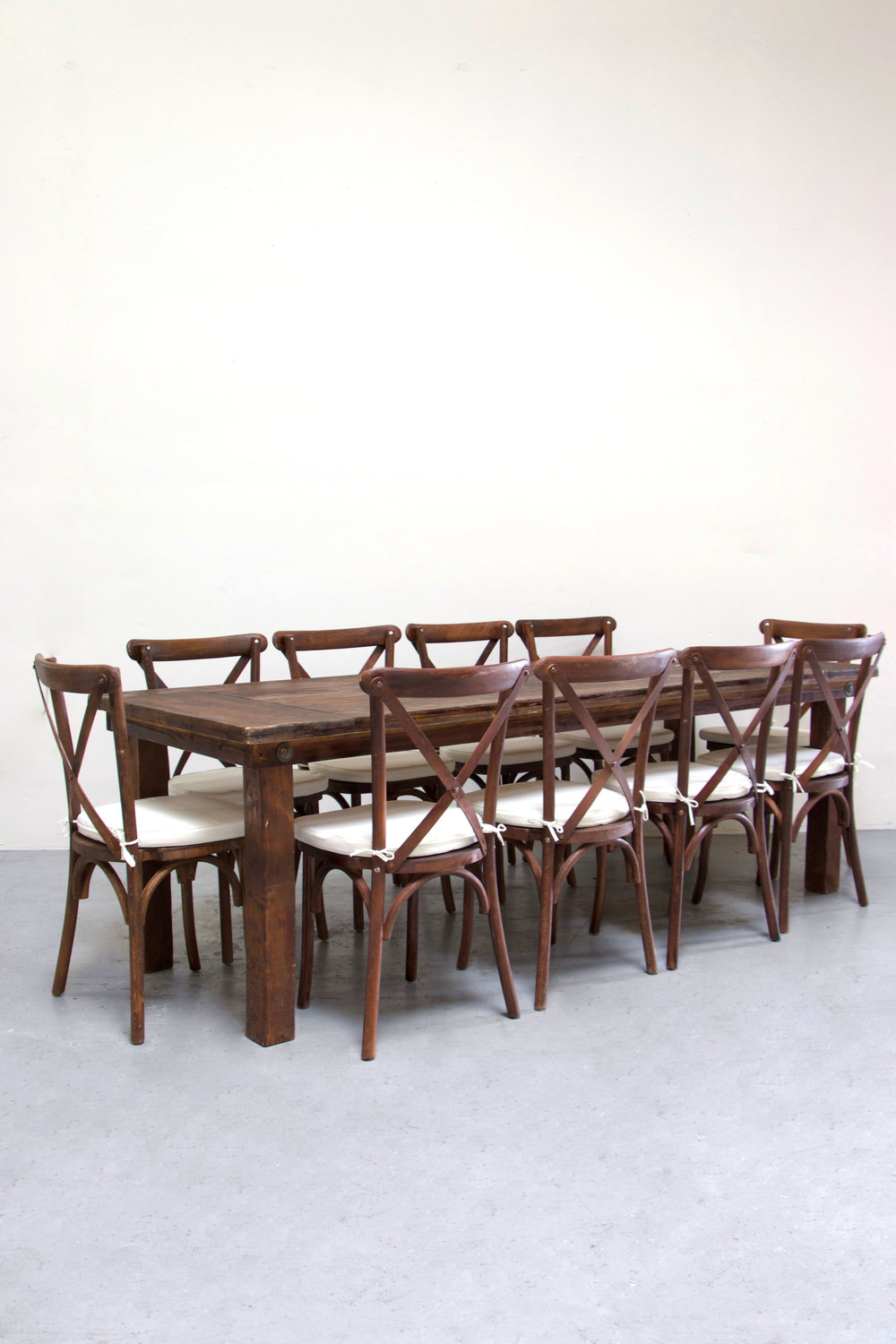 1 Mahogany Farm Table w/ 10 Cross-Back Chairs $160