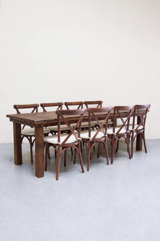 $145 1 Mahogany Farm Table w/ 8 Cross-Back Chairs