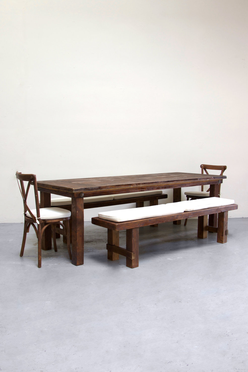 $160 1 Mahogany Farm Table w/ 2 Long Benches & 2 Cross-Back Chairs