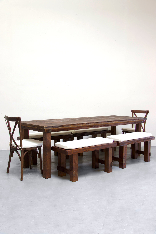 $160 1 Mahogany Farm Table w/ 4 Short Benches & 2 Cross-Back Chairs