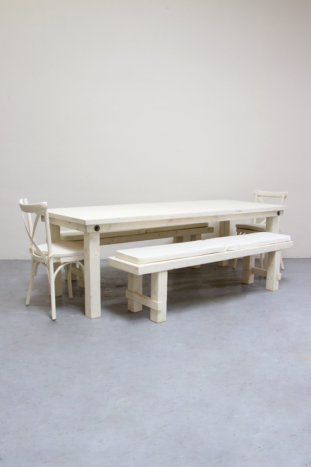 $160 1 Vintage White Farm Table w/ 2 Long Benches & 2 Cross-Back Chairs