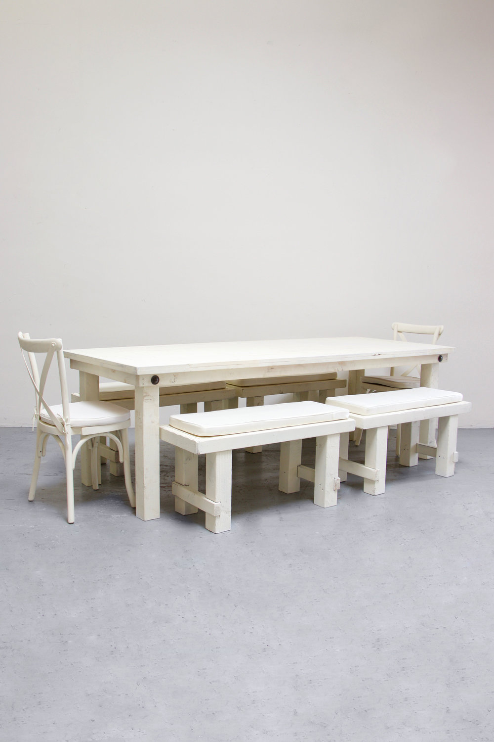 1 Vintage White Farm Table w/ 4 Short Benches & 2 Cross-Back Chairs $160