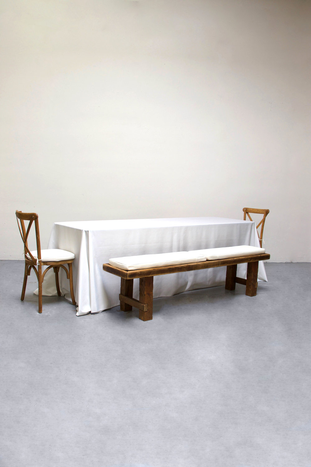 1 Banquet Table with 2 Long Benches & 2 Cross-Back Chairs $100