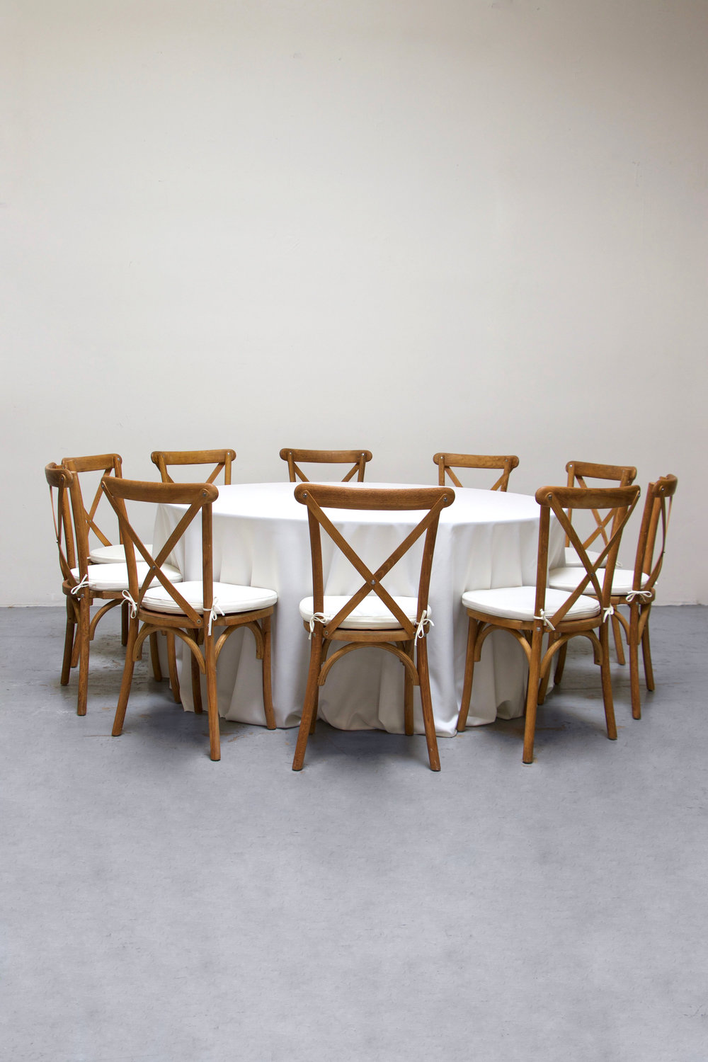 $100 1 Round Banquet w/ 10 Cross-Back Chairs