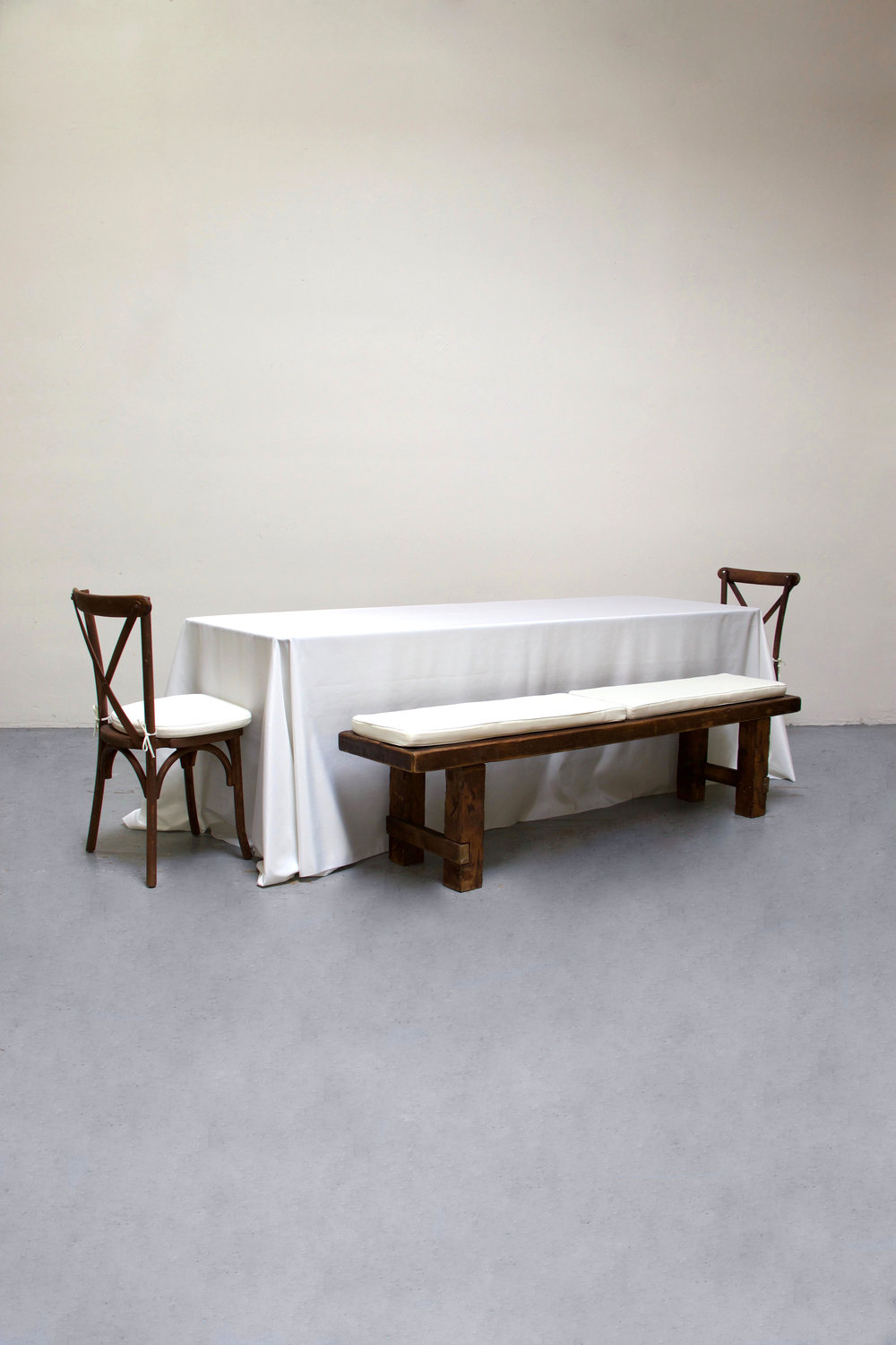 $100 1 Banquet Table with 2 Long Benches & 2 Cross-Back Chairs
