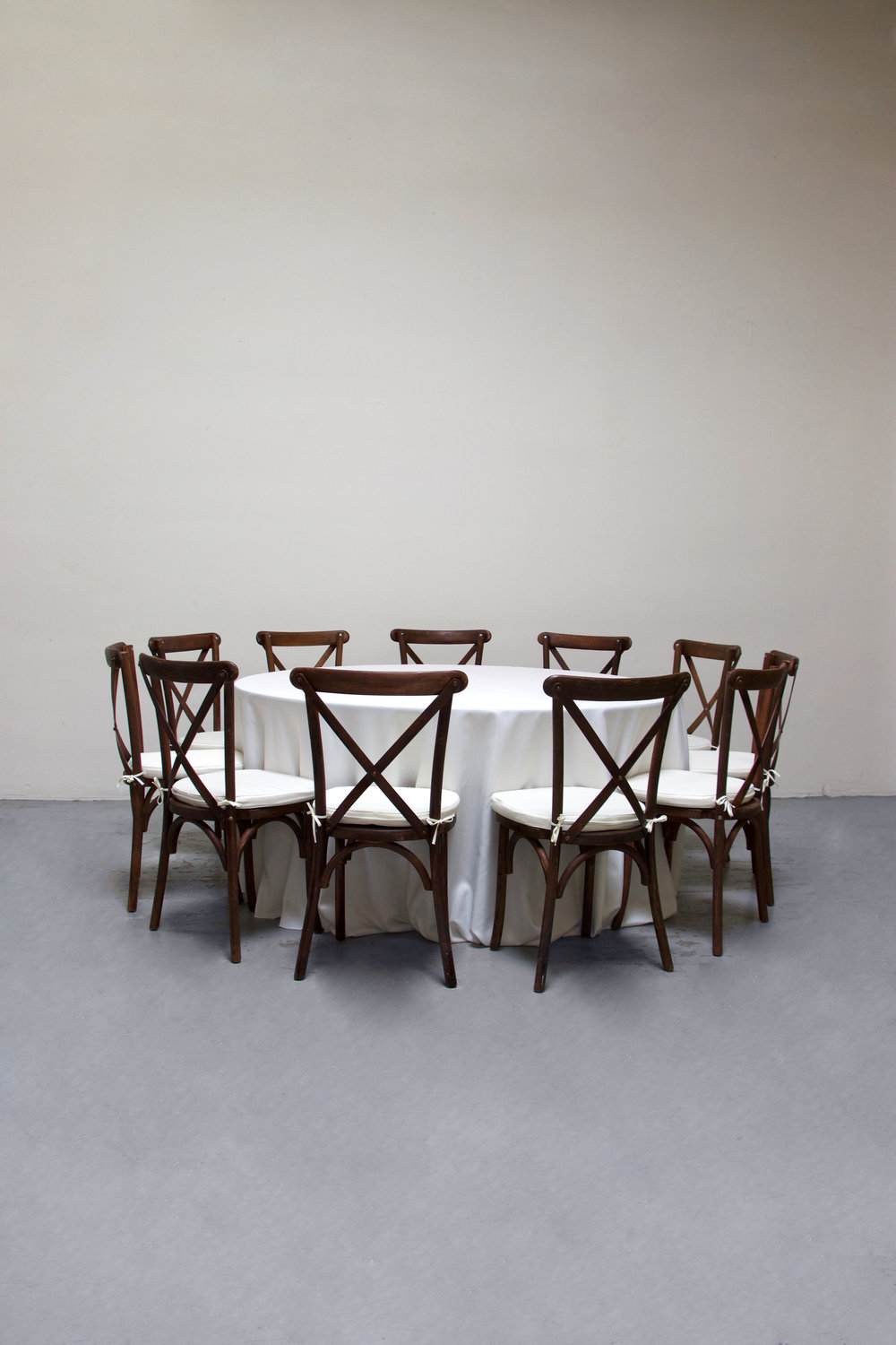 1 Round Banquet w/ 11 Cross-Back Chairs