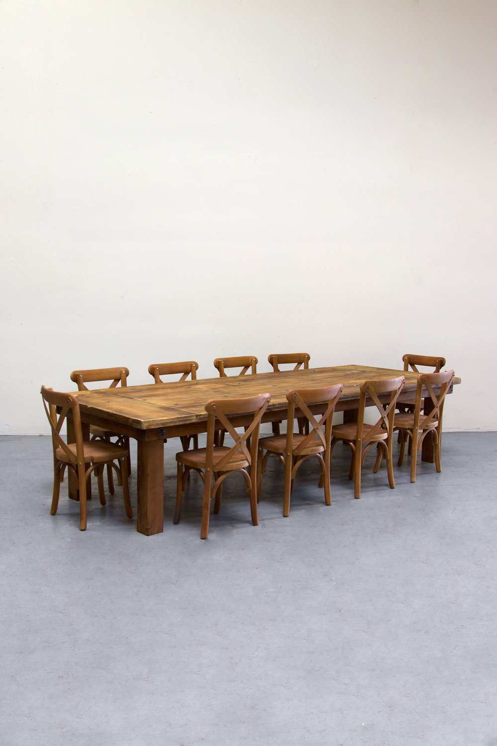 1 Kids Honey Brown Farm Table w/ 10 Cross-Back Chairs $140