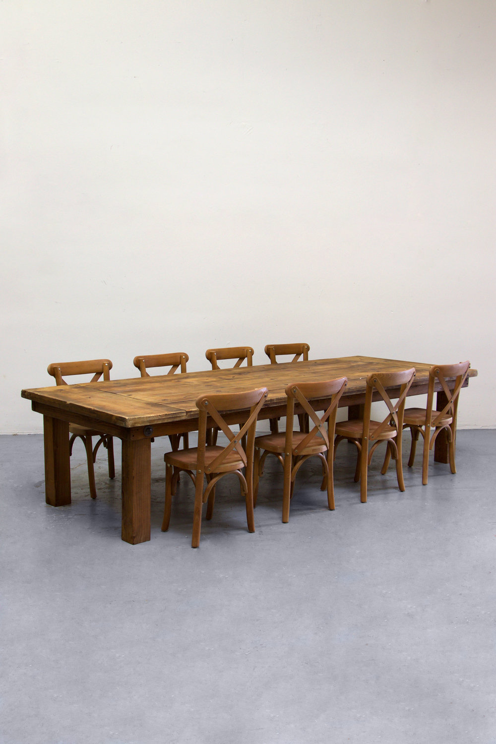$130 1 Kids Honey Brown Farm Table w/ 8 Cross-Back Chairs