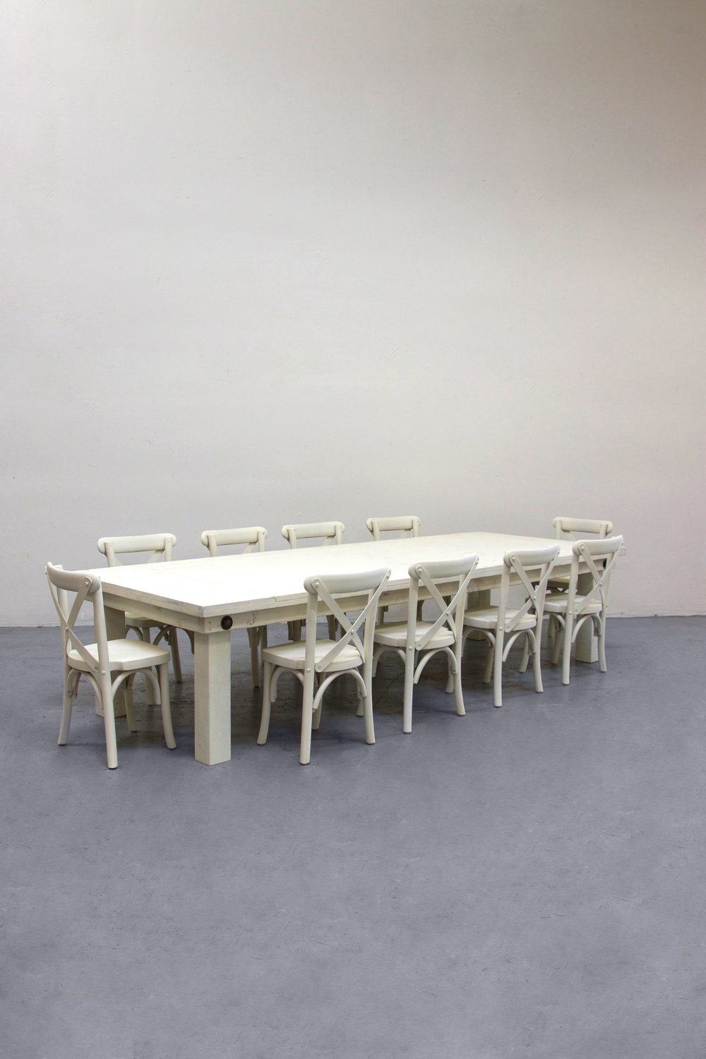 $140 1 Kids Vintage White Farm Table w/ 10 Cross-Back Chairs